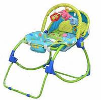 Детский шезлонг качалка Bambi PK 309, музыка/вибрация, дуга с подвесками-игрушками