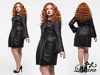 Чёрное платье пальто рукав клёш, пуговицы не функциональные, больших размеров. Арт-5644/21