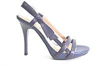 Босоножки женские Canna синие из натуральной кожи на каблуке,женские босоножки