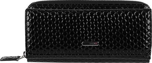 Вместительный кожаный женский кошелек-кредитница с тиснением капля 1140-124, черный