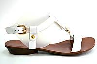 Босоножки женские Basconi белые из натуральной кожи без каблука,женские босоножки