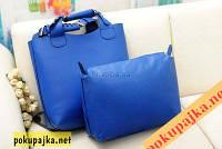 Женская  Супер модная сумка Zara + Косметичка! Цвет Синий
