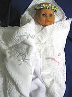 Крыжма «Милый ангелочек». Крещение ребенка - крижмо. Плед для новорожденного