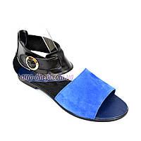 Женские босоножки без каблука, натуральная черная кожа и синяя замша