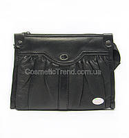 Косметичка-кошелек женская черная (5 отделений) из натуральной кожи Swan (Индия) 512142