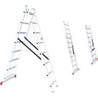 Лестница алюминиевая 2-х секционная универсальная раскладная 2*12ступ. 5.93м