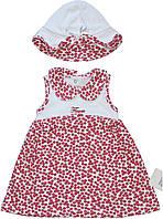 Летнее платье и панама для девочки, бело-красные, в цветочки, рост 74 см, ТМ Фламинго