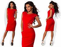 Женское деловое платье с карманами спереди в расцветках Л543