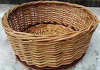 Круглая плетеная корзина под овощи