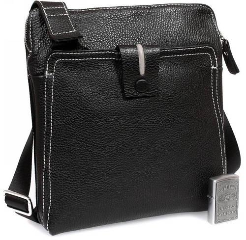 Оригинальная кожаная сумка премиум класса, черная с белой строчкой Alvi av-2-2691