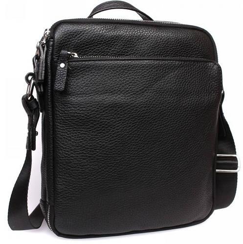 Элитная мужская кожаная сумка для офиса с ручкой и ремнем, черная  Alvi av-30-3187