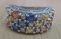 """Шикарный перстень с цветными сапфирами """"Радуга"""" , размер 17,1 от студии LadyStyle.Biz"""