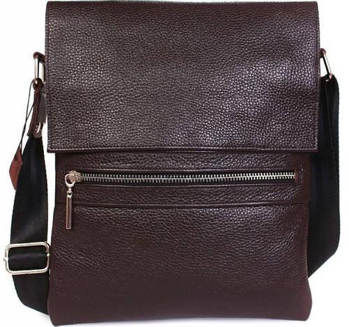 Мобильная мужская кожаная сумка с клапаном коричневого цвета Alvi av-99brown