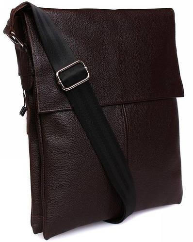 Мужская сумка для документов через плечо, натуральная кожа, коричневая Alvi av-101brown