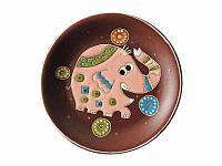 Блюдце глиняное малое Слон розовый (С другой росписью)