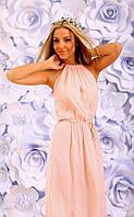 Платье сарафан Макси открытое штапельное цвет пудра