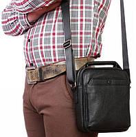 Стильная мужская кожаная сумка с ручкой и ремнем через плечо, черная Alvi av-10-6419
