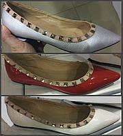 Балетки Valentino с заклепками на низком ходу с заостренным носком 36-41