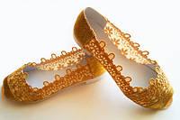 Летние комбинированные женские туфли балетки с открытым носком и вставками макраме экокожа