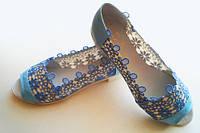 Комбинированные летние женские туфли балетки с открытым носком и вставками макраме экокожа