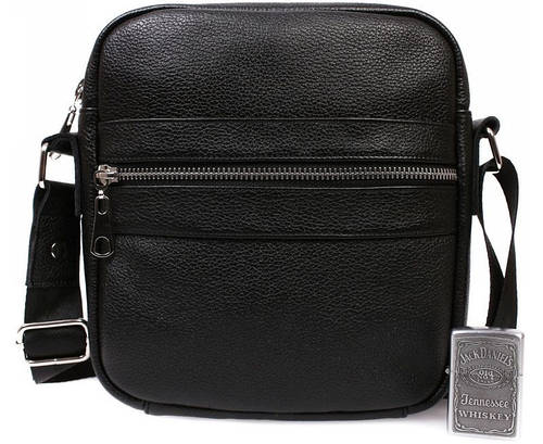 Кожаная мужская сумка небольшого размера, черная Alvi av-90black