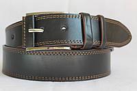 Джинсовый кожаный ремень 45 мм черный прошитый двойной коричвой ниткой пряжка обшита кожаной вставкой