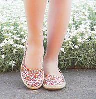 Оригинальные женские туфли балетки с цветочным принтом натуральный лен