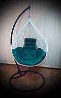 Подвесное кресло-кокон Nest из ротанга белого цвета со стойкой