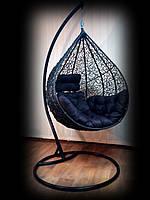 Подвесное кресло-кокон Nest из ротанга черного цвета со стойкой