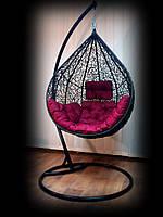 Подвесное кресло-кокон Nest из ротанга коричневого цвета со стойкой