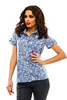 """Летняя женская рубашка в цветочек """"Bounty"""" с коротким рукавом (2 цвета)"""