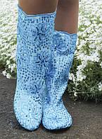 Модные летние женские сапожки украшены пайетками без застежки гипюр