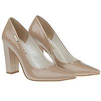 Туфли женские Lavini (бежевые, на устойчивом каблуке, изысканные, модные, стильные)