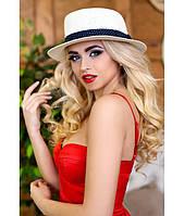 Стильная женская соломенная белая шляпа (шляпка-канотье), разные цвета