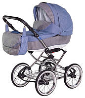 Классическая коляска Adamex Katrina Eco 646K Белая рама Серо-синий