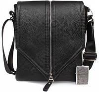 Оригинальная кожаная сумка через плечо от дизайнера в черном цвете Alvi av-5-9127