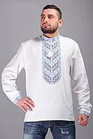 Мужская рубашка - вышиванка с длинным рукавом с нежным черно-голубым орнаментом
