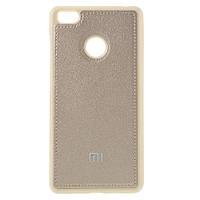 Чехол накладка для Xiaomi Mi4S силиконовый с кожаной вставкой, Золотистый