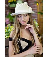 Женская летняя бежевая шляпа с ушками (шляпка-кошка), цвета в ассортименте