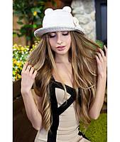 Женская летняя белая+бежевая шляпа с ушками (шляпка-кошка) полоски на полях, цвета в ассортименте