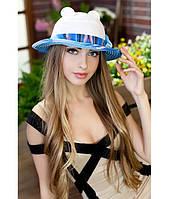 Женская летняя белая+голубая шляпа с ушками (шляпка-кошка) полоски на полях, цвета в ассортименте