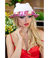 Женская летняя белая+малиновая шляпа с ушками (шляпка-кошка) полоски на полях, цвета в ассортименте