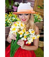 Женская летняя белая+оранжевая шляпа с ушками (шляпка-кошка) полоски на полях, цвета в ассортименте