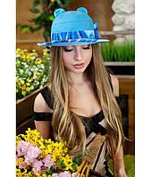 Женская летняя бирюзовая шляпа с ушками (шляпка-кошка) полоски на полях, цвета в ассортименте