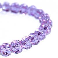 Бусины стеклянные 8 мм, 55 шт, прозрачные, ФИОЛЕТОВЫЕ, Crystal Art