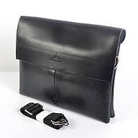 Мужская наплечная сумка из кожи от Langsa (черная) - код 19-45