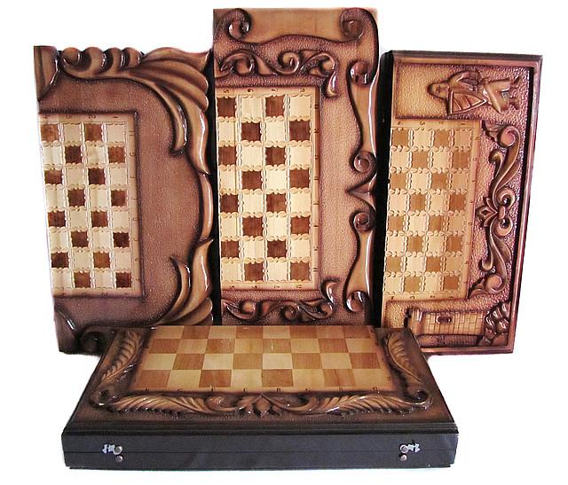 Шахматы ручной работы + шахматы-нарды-шашки (3в1)