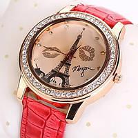 Женские часы Эйфелева башня с губками на ремешке из экокожи розовые