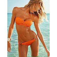 Купальник стиль Victorias secret бандо с кольцами оранжевый push up размер S