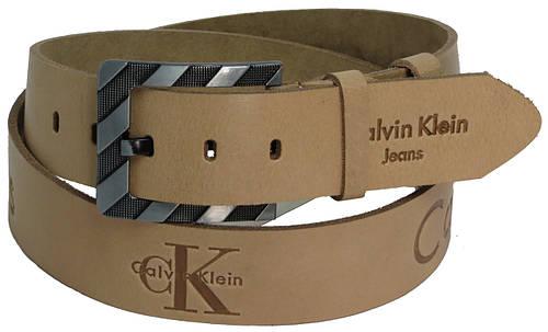 Мужской кожаный джинсовый ремень Skipper 3681 Calvin Klein Jeans бежевый ДхШ: 130х4,5 см.